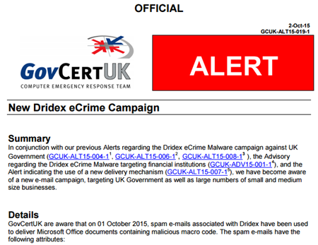 Typical UK Government cyber threat alert to businesse