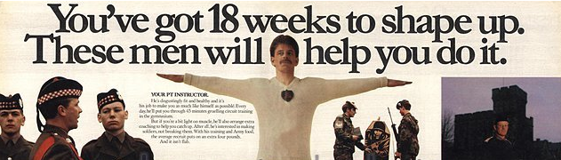 """From a 1970""""s recruitment poster. By coincidence, the Corporal standing beside the target was my training Corporal in basic training at Glencorse. He was Royal Scots, hell of a sniper too."""