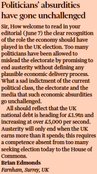 Letter to the Financial Times, 8 June 2017, the day of the UK General Election.