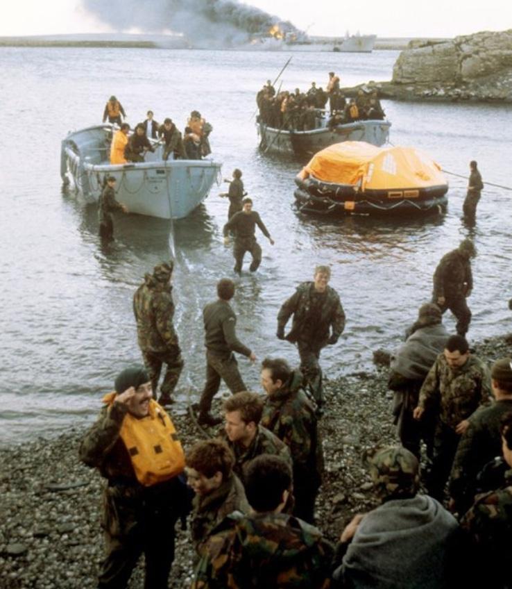 Casualties coming ashore from Sir Galahad