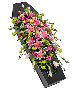 Pink Rose and Lily Casket Spray
