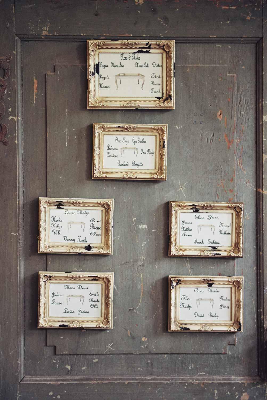 Vintage Wedding Detail Tischkarten im Rahmen