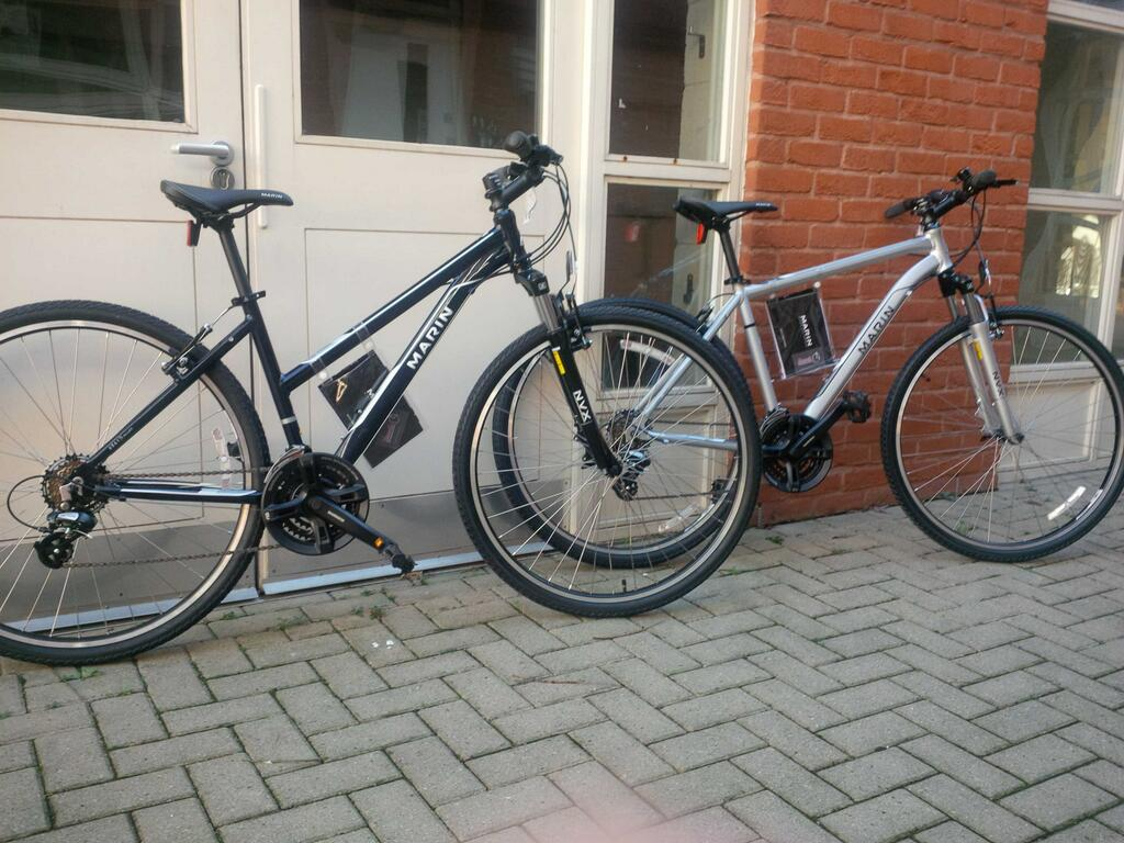 A brace of Marin bikes, already for the streets of Sheffield.