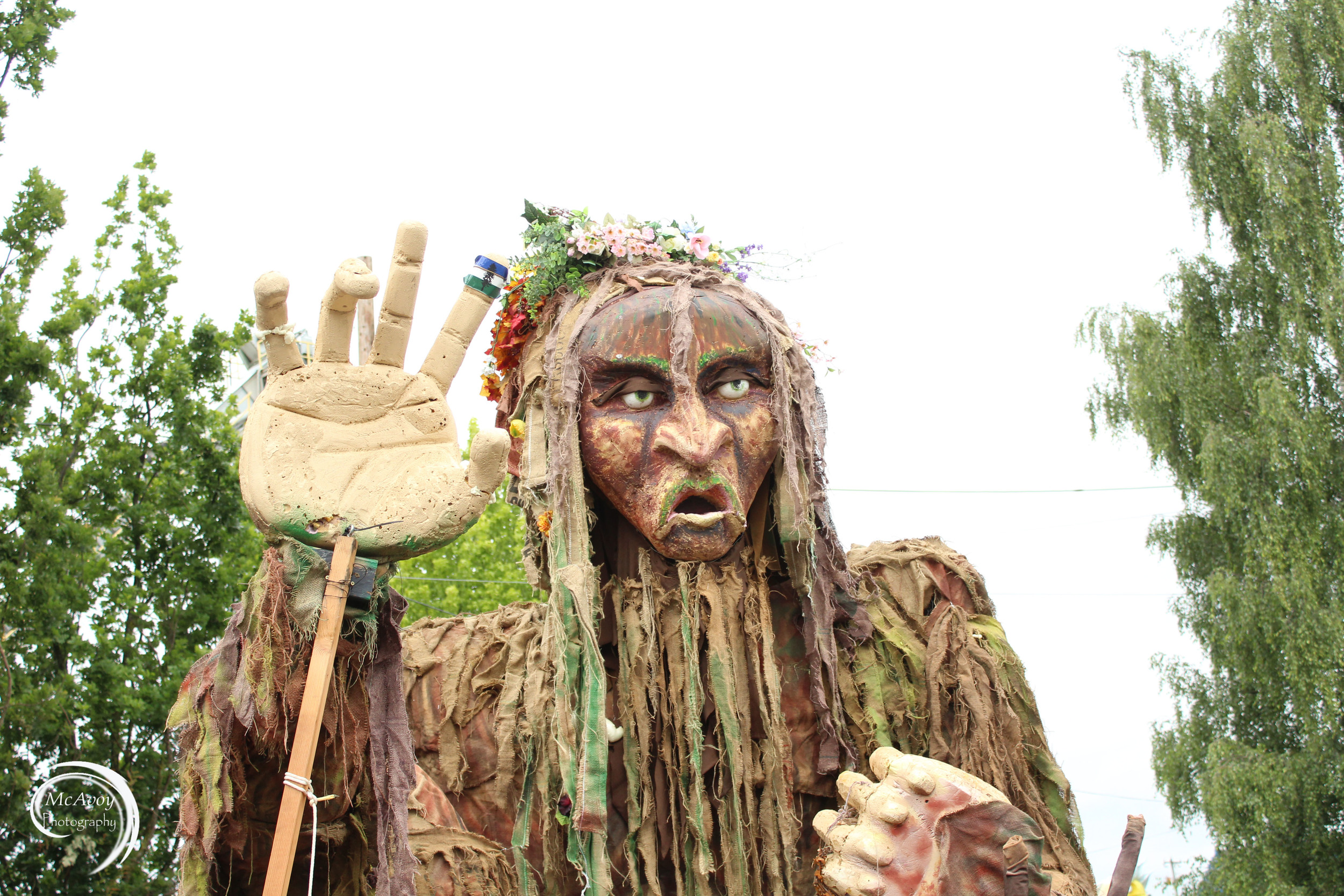 The CascadiaNow! Sasquatch made its second appearance at the parade. CascadiaNow! volunteers and Mythica Village members helped with its construction and upkeep this year. Some of the props made by Mythica Village members will be used in the Cascadia Northwest festival in July .