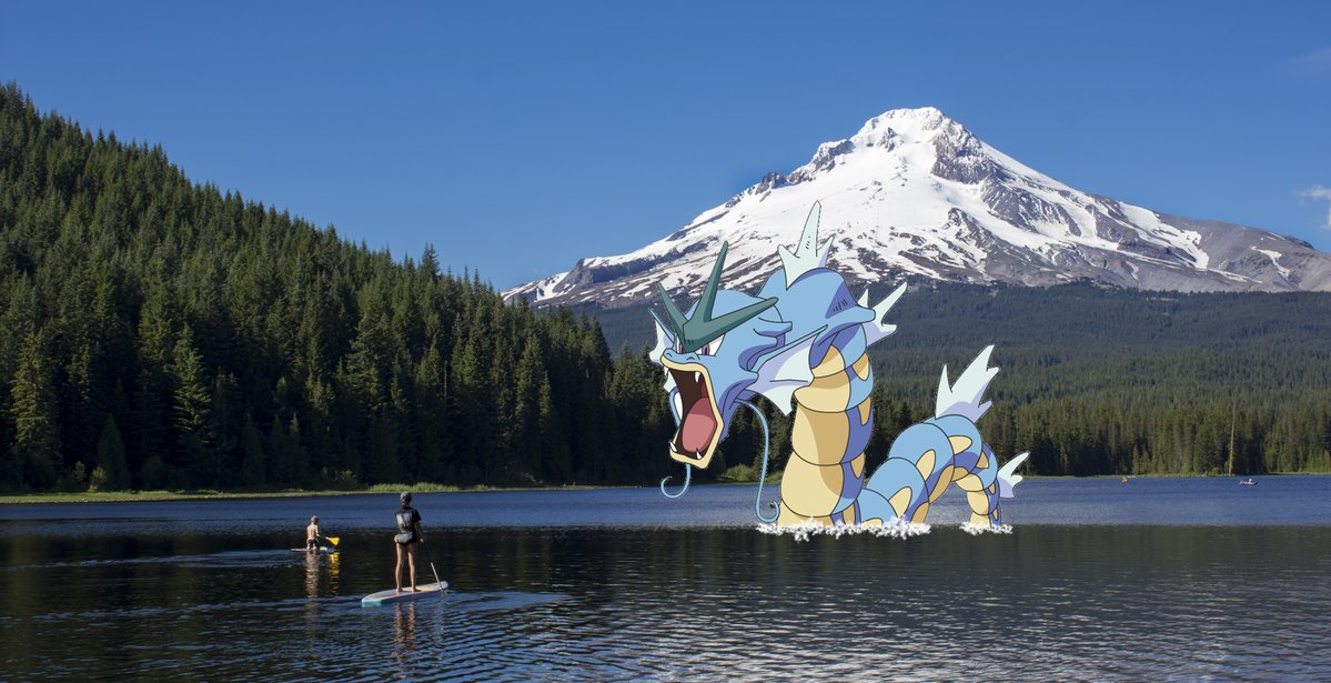 Gyarados invades Trillium Lake near Mt. Hood. Photo from twitter @inMtHood.  Check out their website !
