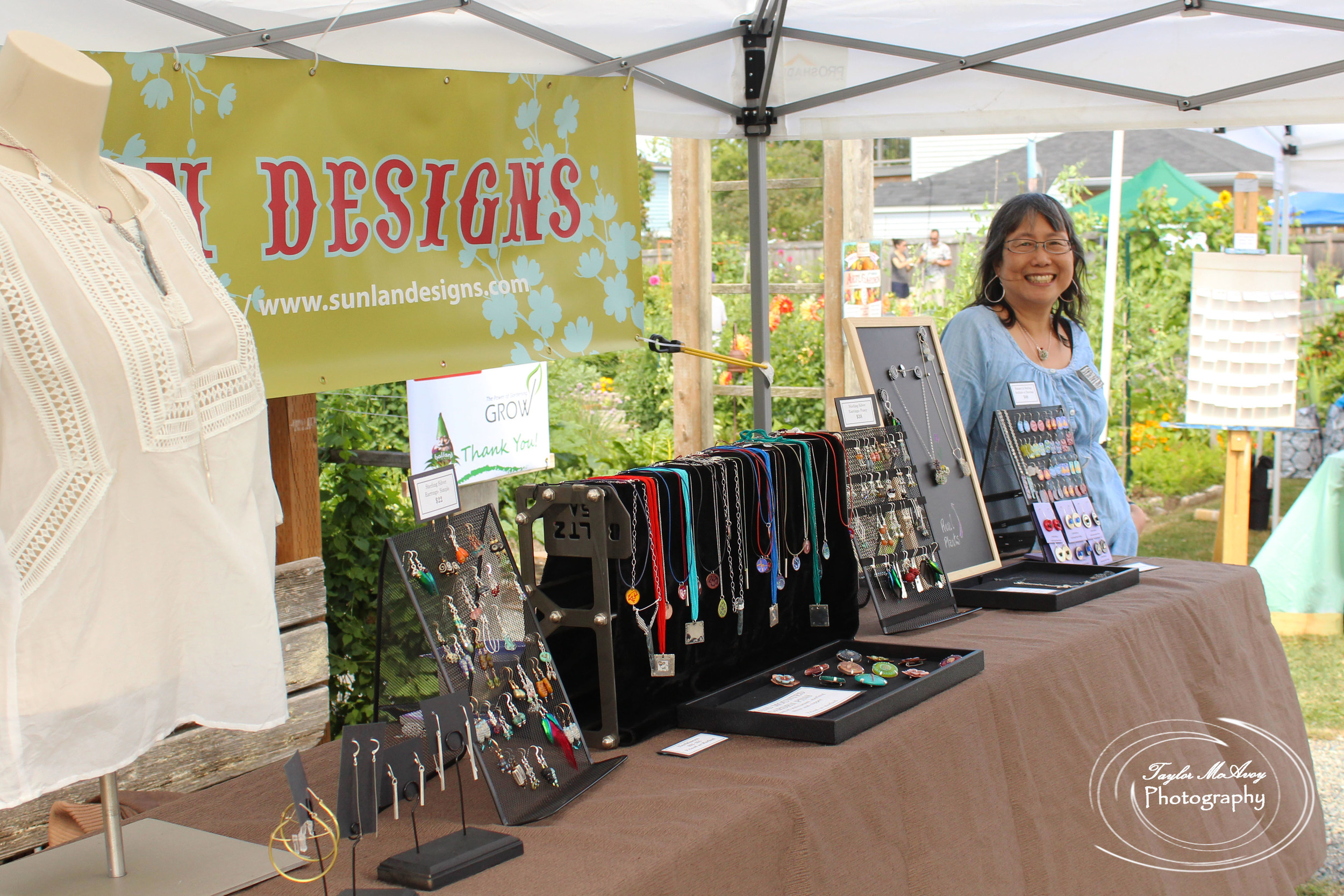 Nancy Hom of Sunlan Designs has been creating hand-made and nature or garden themed jewelry for Art in the Garden since 2010 and is her only show in the summer.
