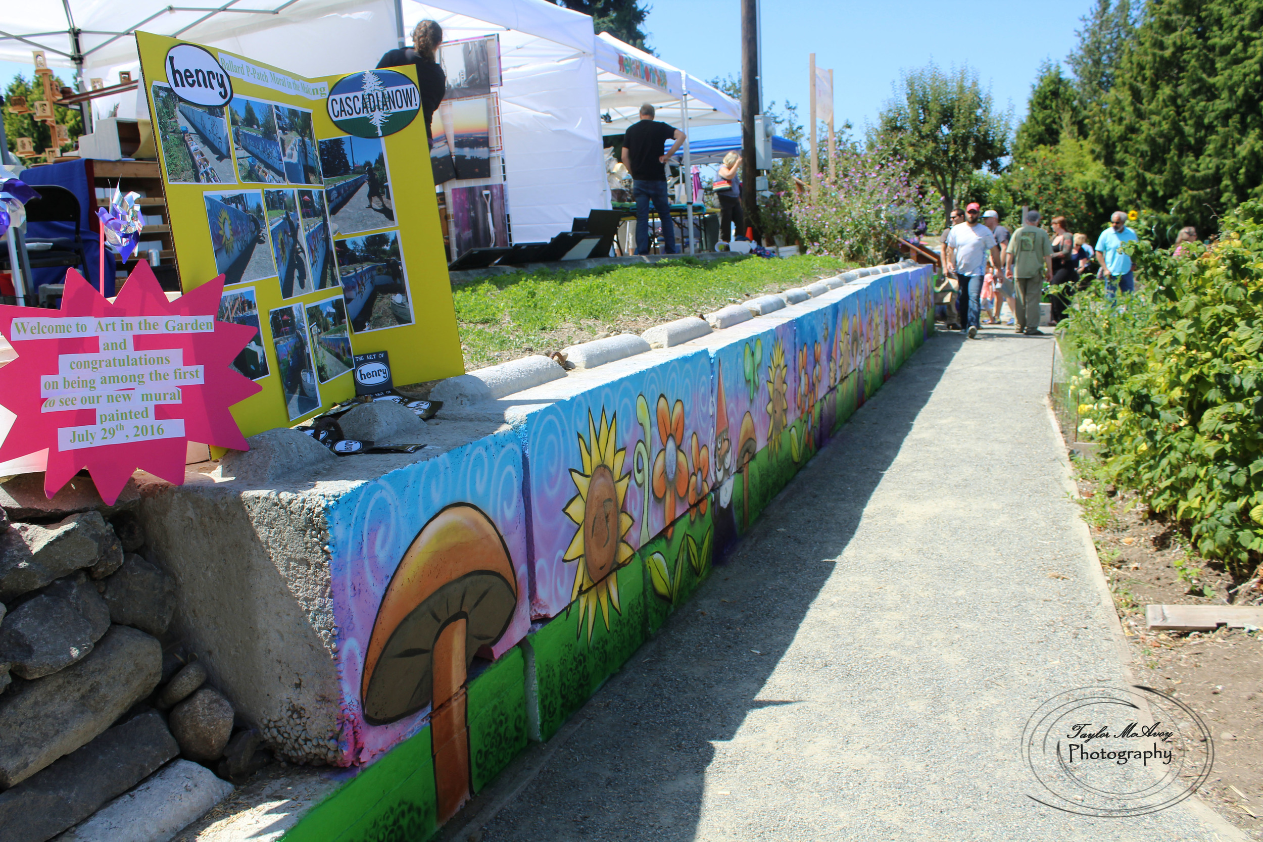 Seattle artist Ryan Henry Ward contributed to the community and the Ballard P-Patch by volunteering to paint this beautiful mural and add to the color of the community.