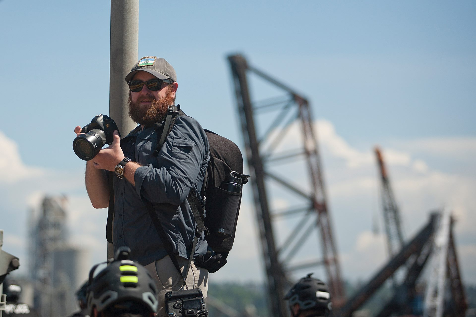 """Alex Garland shoots for the peaceful protest """"You Shell Not Pass"""" at the Port of Seattle Terminal 5."""