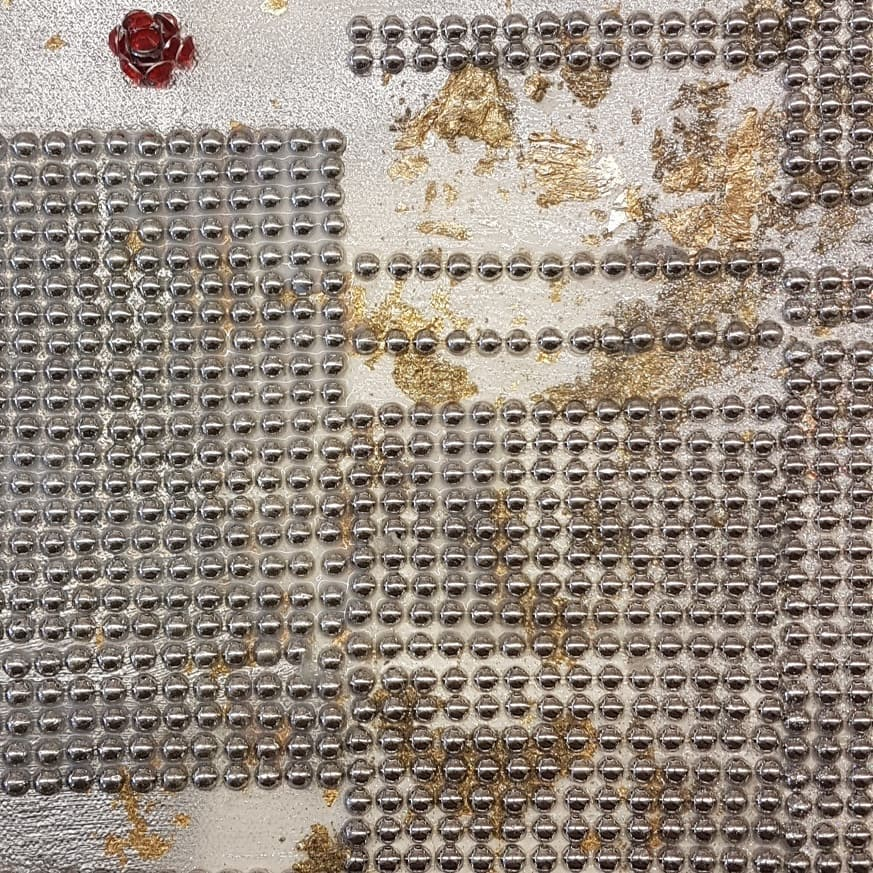 embellishments and gold on canvas . work in progress