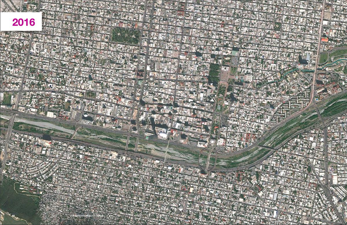 Trazo de la canalización del río Santa Catarina durante varias épocas. Fuente: Cátedra Vía Ambiental, Tecnológico de Monterrey.