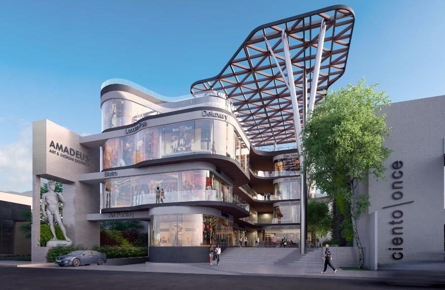 """Render del año: Amadeus Art and Design District, cono todo y el """"polémico""""  David  incrustado en la fachada."""