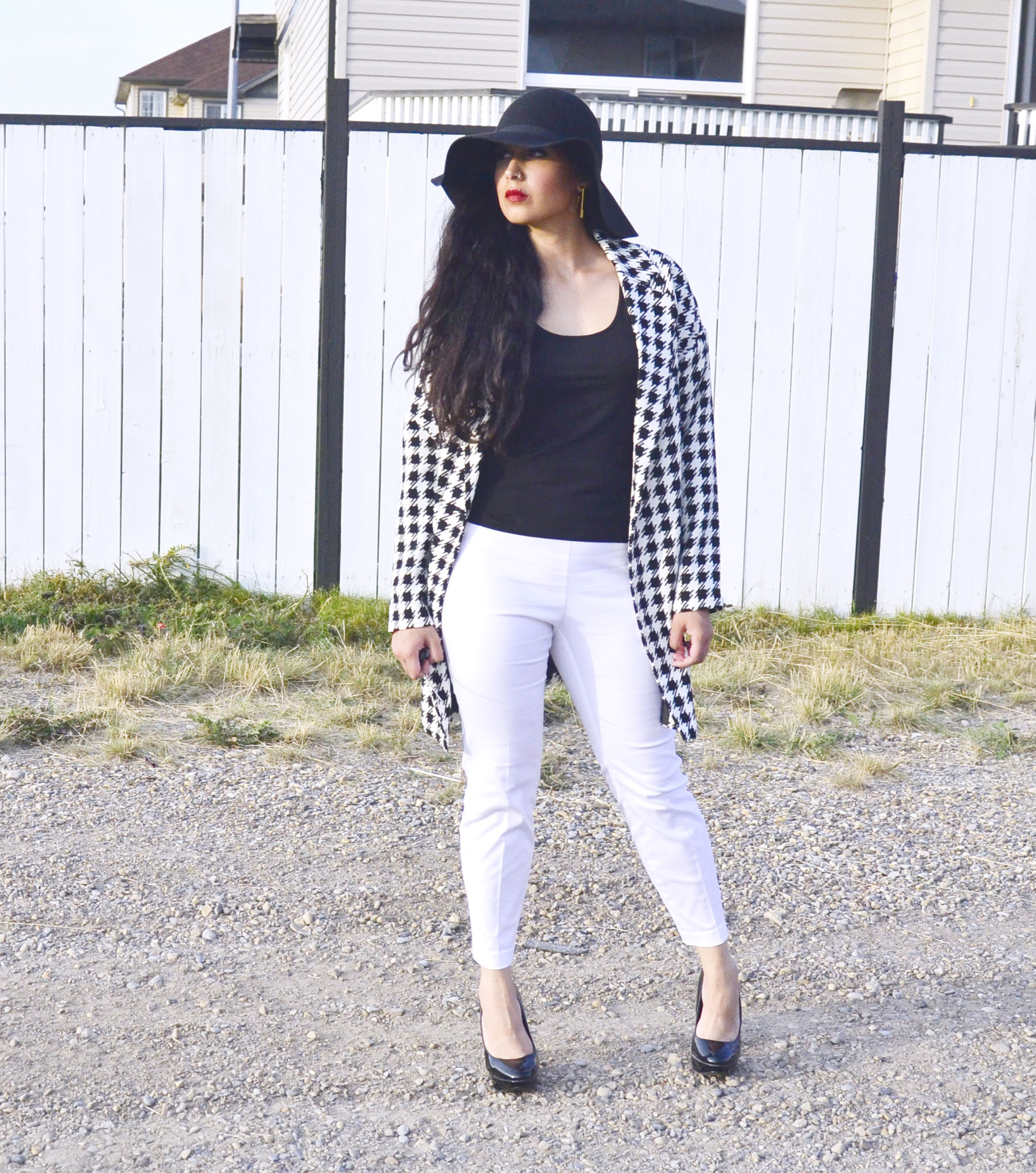 Outfit Two: Who Let The Hounds Out   Houndstooth Coat: Forever21    Black Tank: Smartset    White Cropped Pants: H&M    Black Pumps: Pin Up Girl Clothing    Black Floppy Hat: H&M