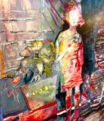 """""""Red Girl"""" watercolor on Yupo. Giclee print on display at ARTspot. Image size 27x21"""" $250."""