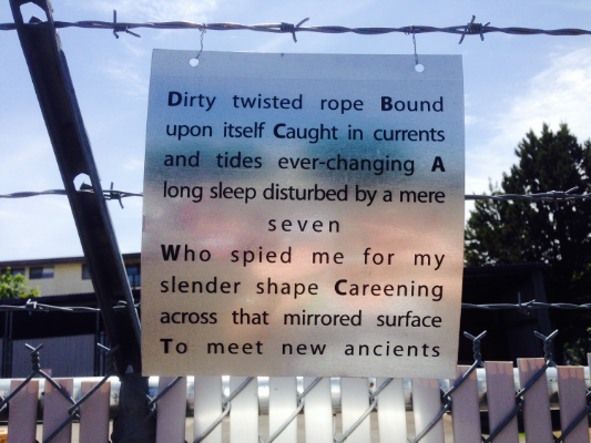 Poem as part of installation