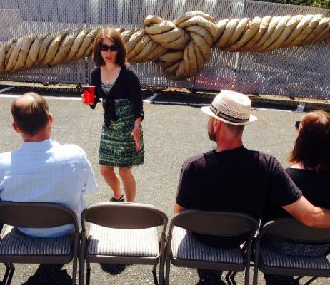 Mona Fairbanks presenting the installation on Sunday, June 22 at Art Works