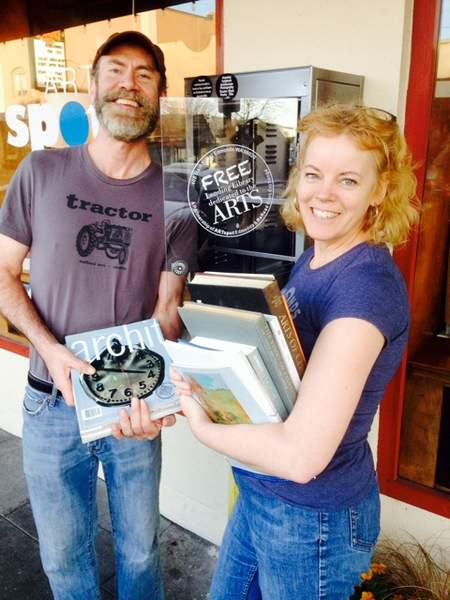 ARTspot owner Tracy Felix and James Spangler, owner of ReRead Books, fill the newest Edmonds Little Lending Library with books and magazines related to general art, art history, design, architecture, painting, sculpture, photography and related subjects. Stop by ARTspot at 408 Main St. and take a book, leave a book or both.