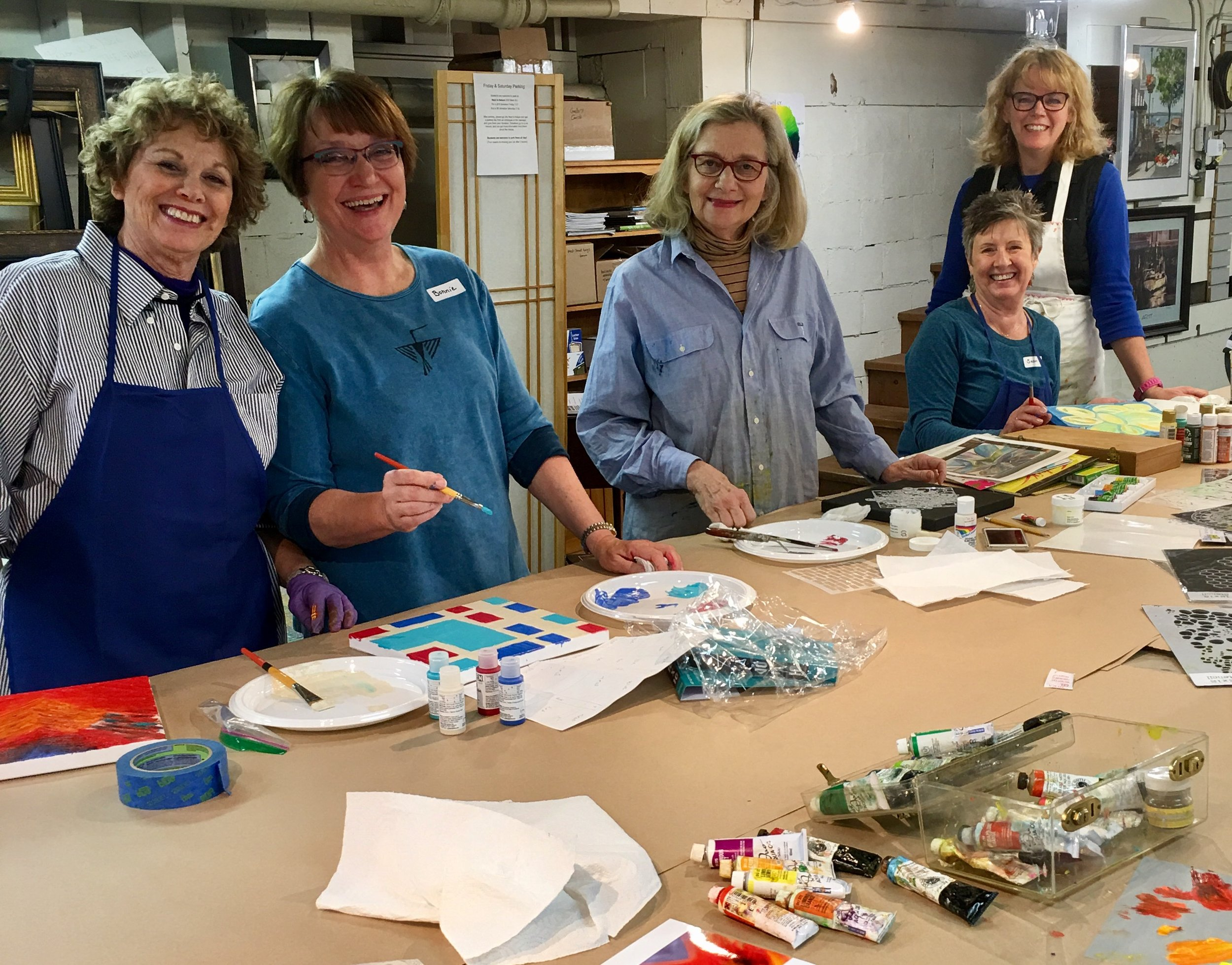"""Look who showed up to paint!.... Tracy Felix (far right) with members of the board from Washington Kids in Transition at the 2nd """"Paint-Together session April 11th."""