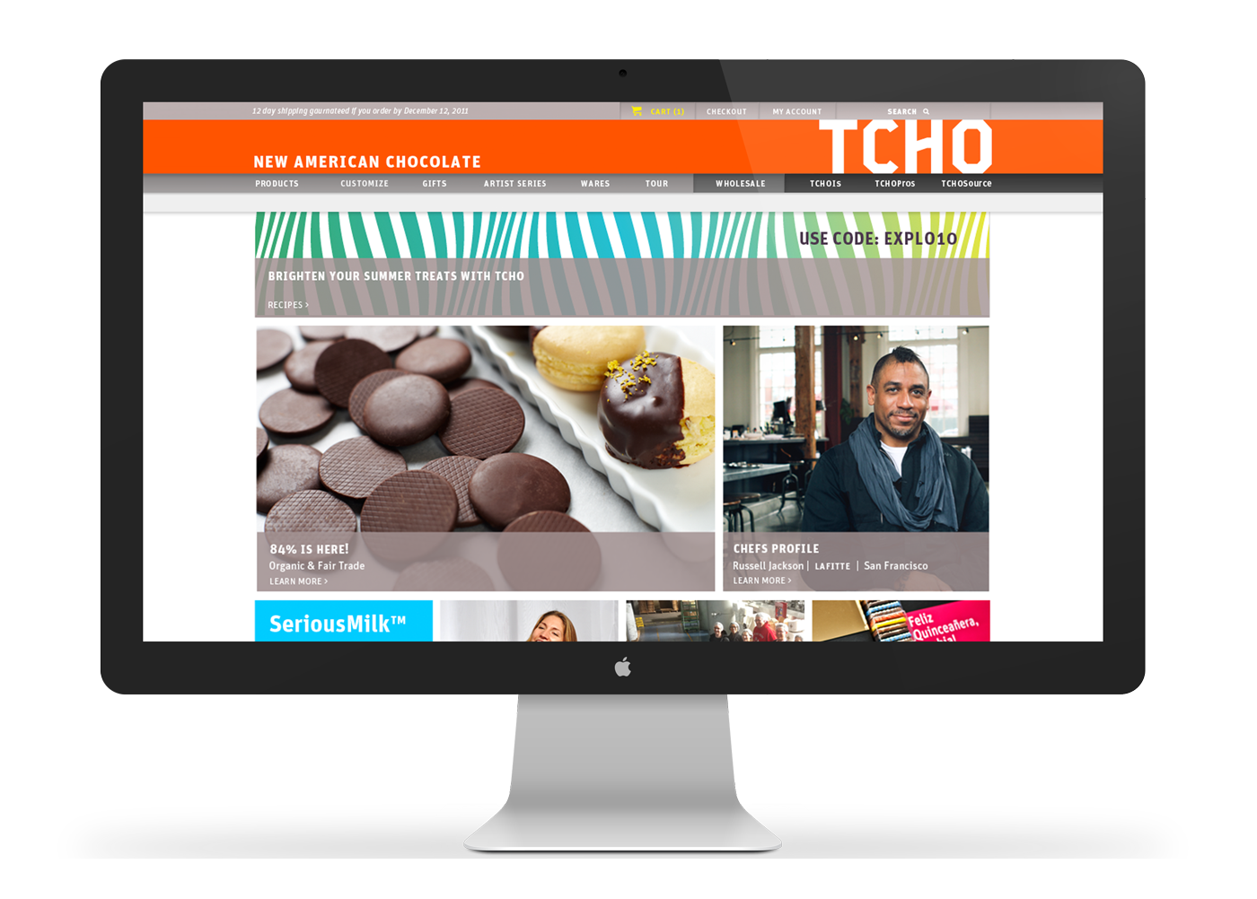 TCHO's new responsive website design—home page.