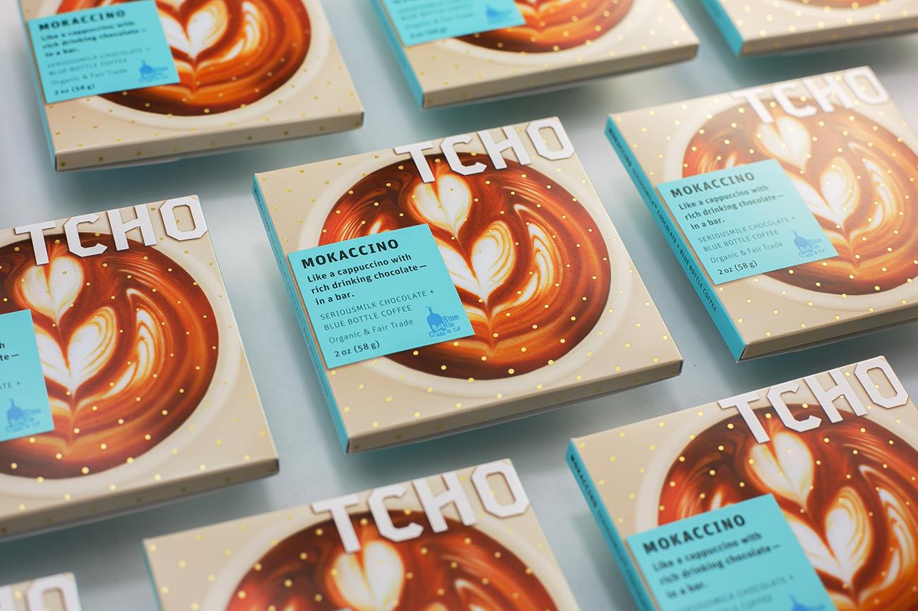 TCHO's first inclusion chocolate bar, Mokaccino. Designed with  Elina Frumerman  Latte art by  Selina Viguera  Photo by   Tomo Saito  .