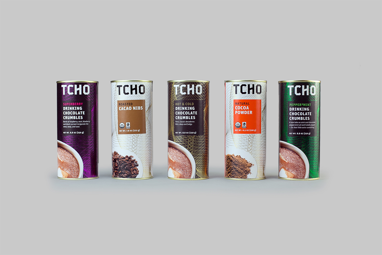 TCHO Drinking Chocolate line, Roasted Cacao Nibs and Natural Cocoa Powder  Designed with  Suzanne Baxter  and  Janet Lai