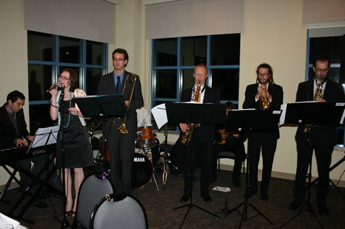 Members of the U of Innsbruck Student Big Band perform at the party celebrating the 25th anniversary of the Austrian Student Program