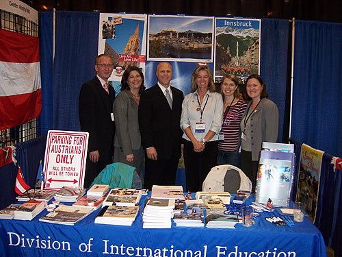 From left: Mr. Bernicki, Foreign Ministry of the Czech Republic, Alea Cot,Director of International Education, UNO, Lt Gov Mitch Landrieu, Gertraud Griessner and Christina Sturn, CenterAustria, Dr. Irene Ziegler, Division of International Education, UNO