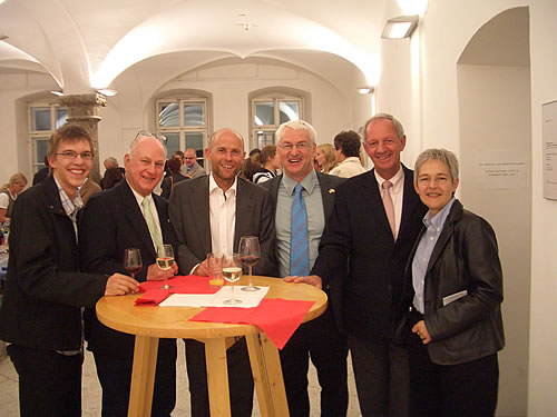 From left: Martin Frick, 2006/7 Center Austria Grad Assistant, Research Prof. Emeritus Dr. Charles Hadley,  Mr. Eugen Stark, Executive Director, Austrian Marshall Plan Foundation, Prof. Günter Bischof, Director Center Austria, Prof. Franz Mathis, UNO-LFU Innsbruck Friendship Coordinator, Mrs. Ellen Palli, Executive Director, Austrian Student Program.