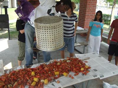 Ryan Jones prepares a fresh batch of crawfish