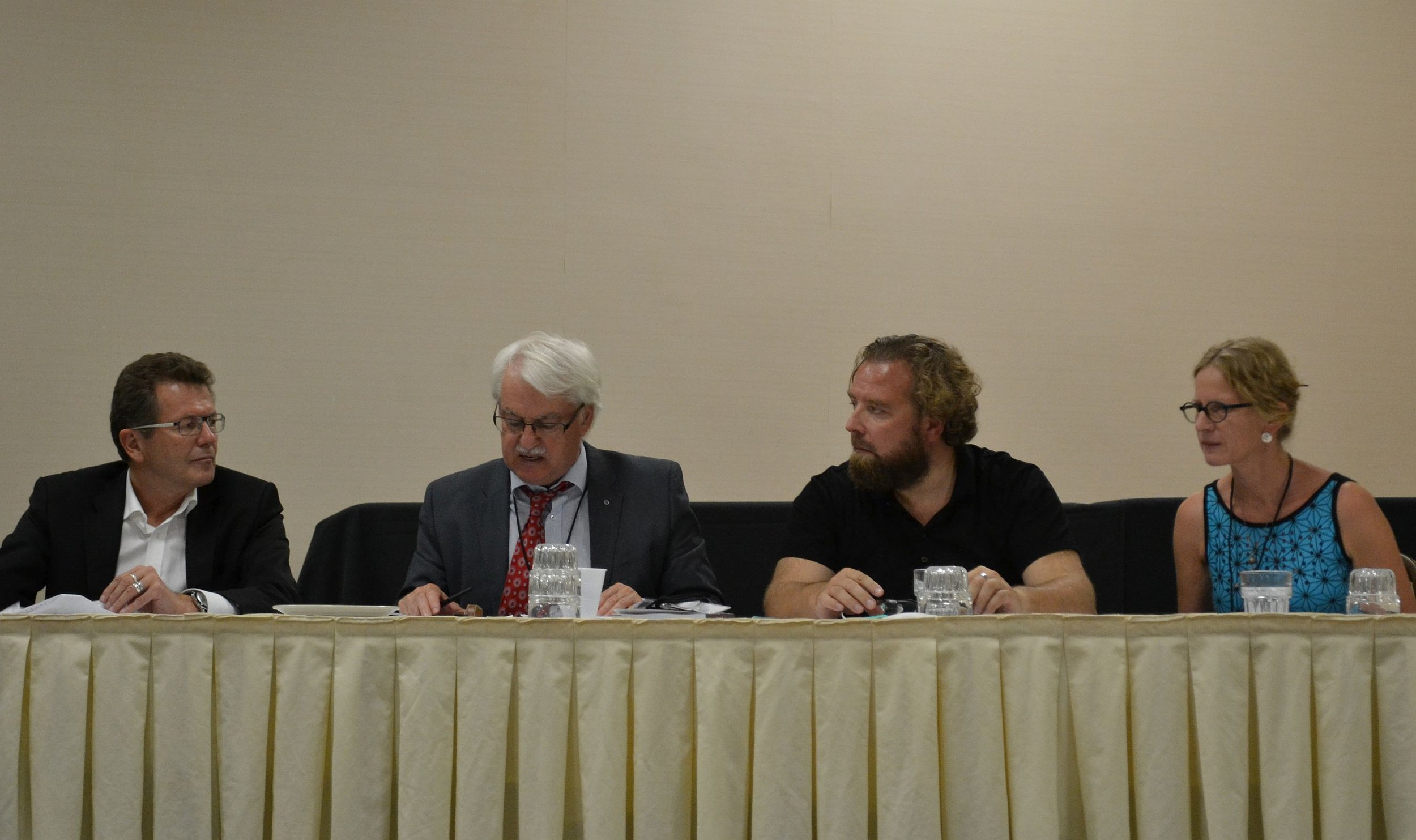 From left: Ambassador Waldner, Günter Bischof, Dirk Rupnow, Christiane Hintermann  Photo: Winfried Garscha