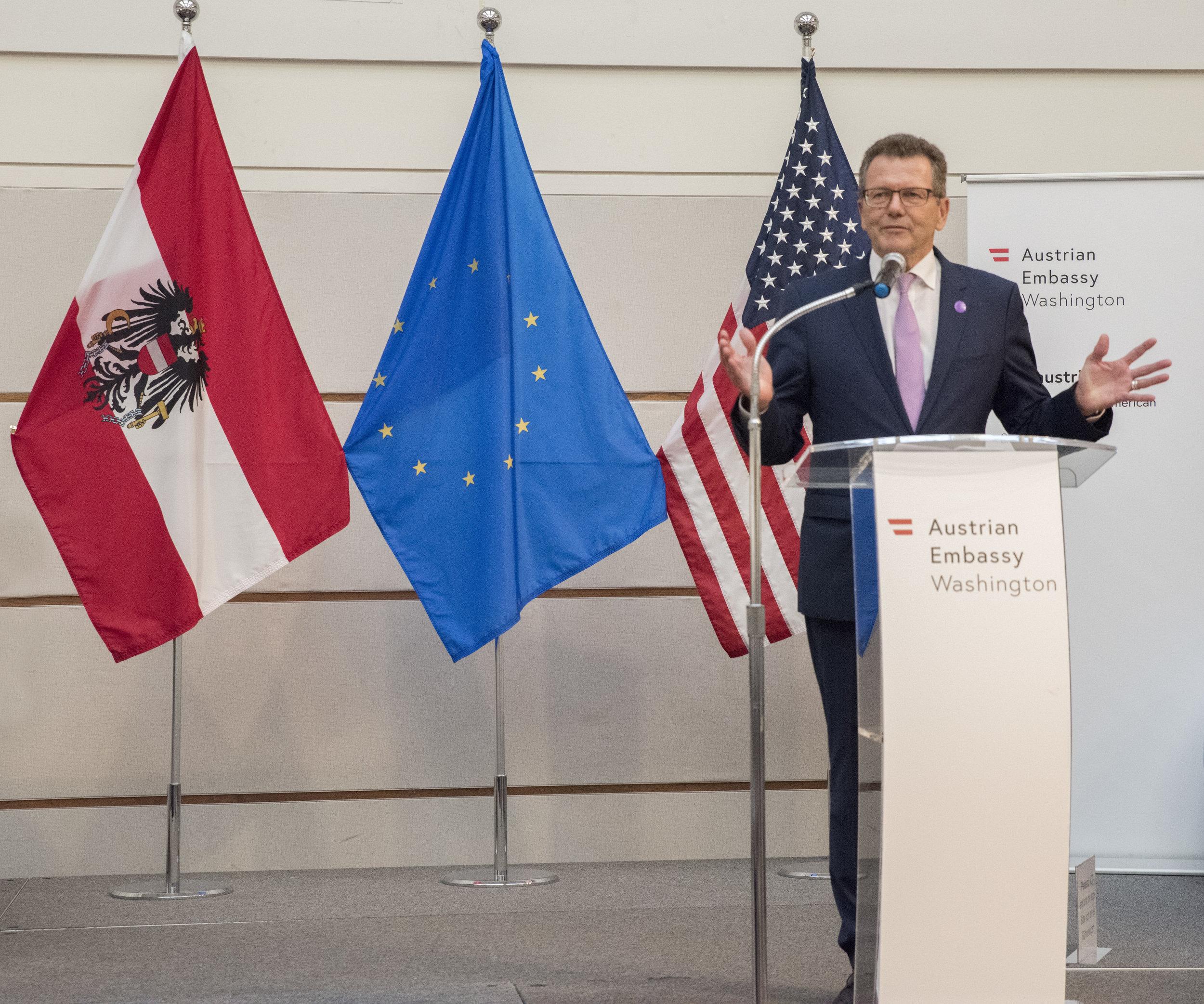 Ambassador Wolfgang Waldner opens the exhibit.   Photo: Lenore Boulet