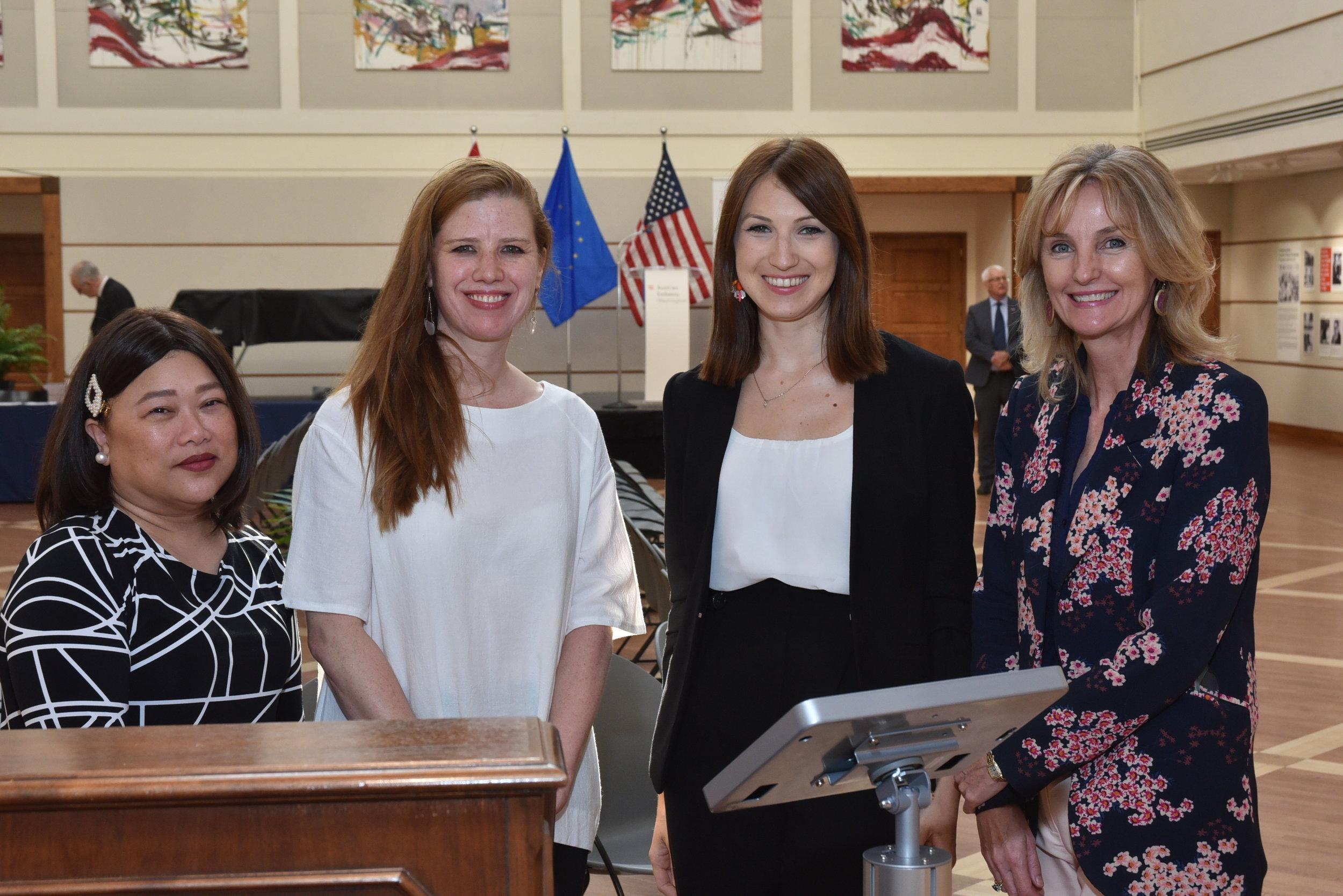 A warm welcome - Austrian Embassy staff (from left) Ellen Caimol - Ilog, Julia Assl, Fabienne Moser, Claudia Wilson.   Photo: Peter Alunans