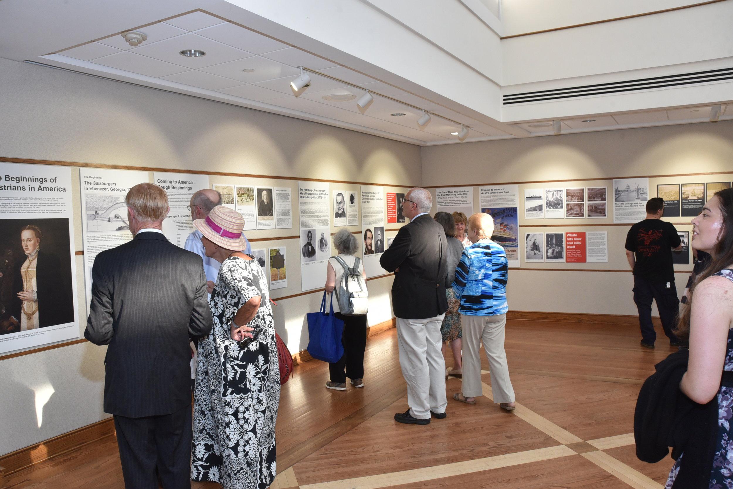 Guests viewing the exhibit.    Photo: Peter Alunans