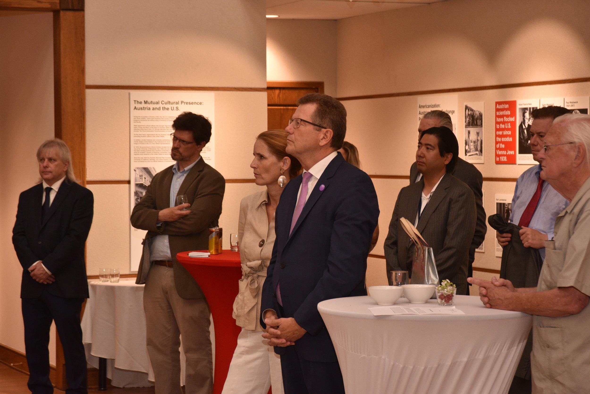 Ambassador Waldner and guests during Professor Bischof's remarks.   Photo: Peter Alunans