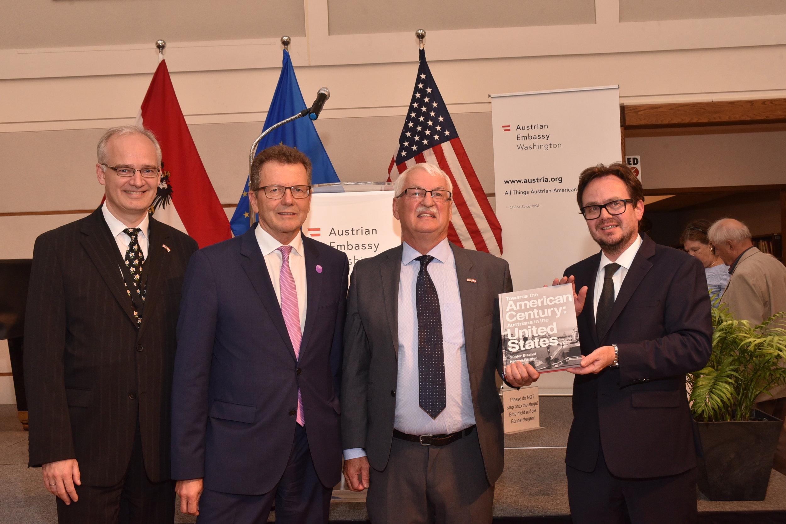 Thorsten Eisingerich (left), Ambassador Waldner, Professor Bischof, Hannes Richter   Photo: Peter Alunans