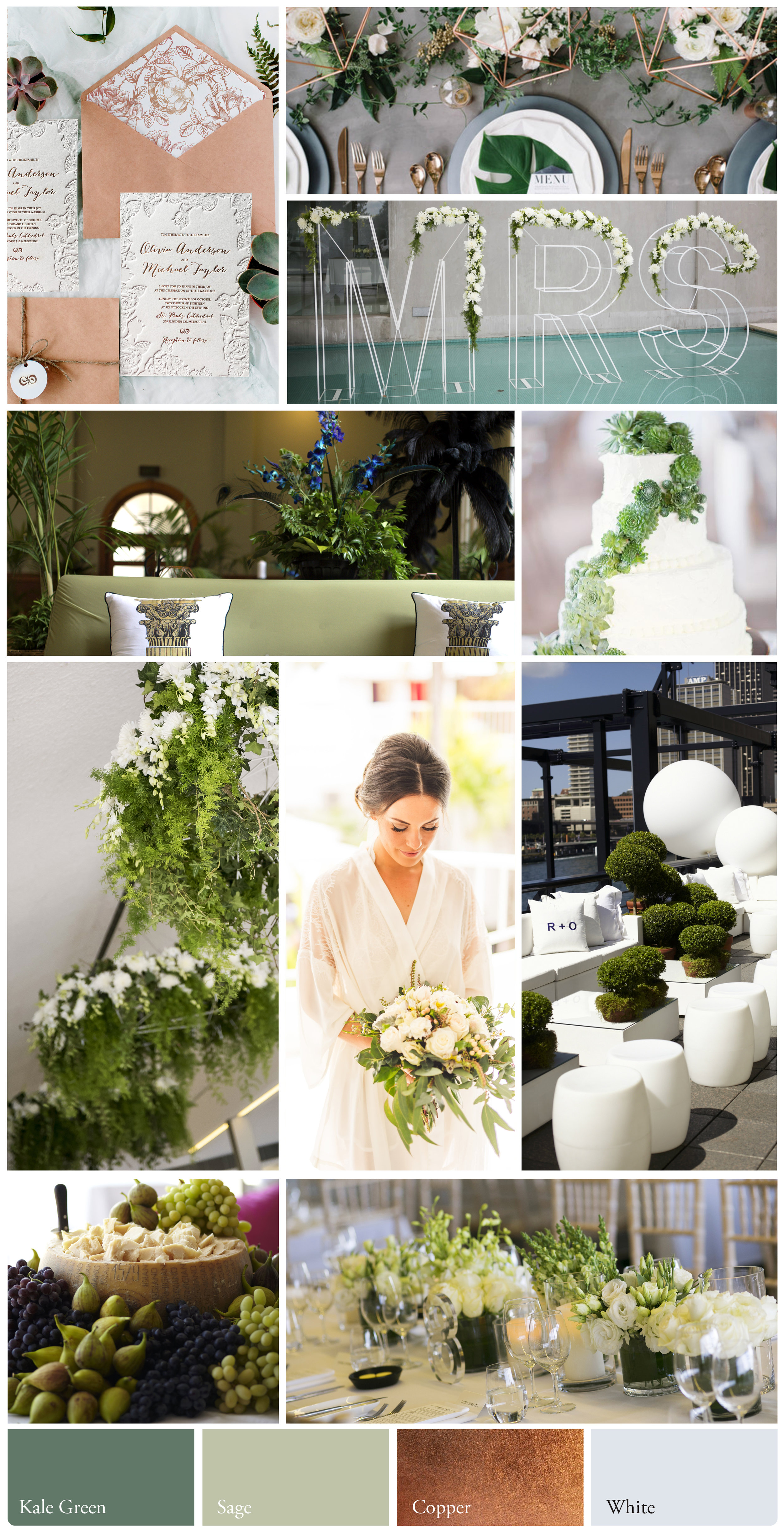 Earthy Romance - Shades of fresh, crisp green & stark white and hints of copper.