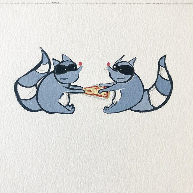 The Trash Pandas . . . .  #comics #dogs #raccoon #trashpanda #raccoons #pie #pizza #patterndesign #hireme #commissionsopen #illustrationartists #daily #kidslitart #womenwhodraw #babyanimals #cookies #gouache #painting #watercolor