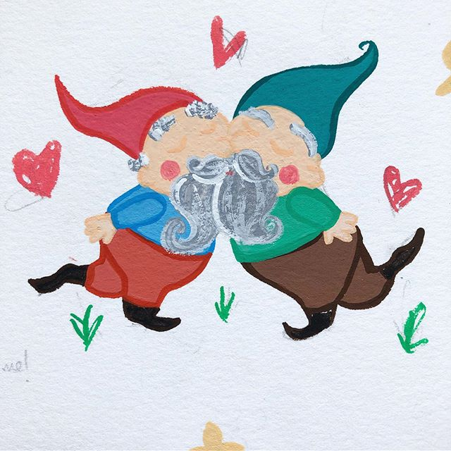 The gnomes. #gouache #painting #kidslitart #childrensbooks #childrensbooksillustrator #illustrator #womenwhodraw #gardengnome #gardengnomes #gnomes #wip #patterndesign #patternmaking