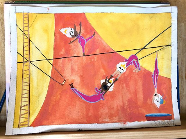 Almost finished old lady circus for #portfolioclub- debating on adding another person on the left. #womenwhodraw #circus #kidslitart #childrensillustration #gouache #painting #watercolorpainting #trapeze #tightropewalker #cirquedusoleil