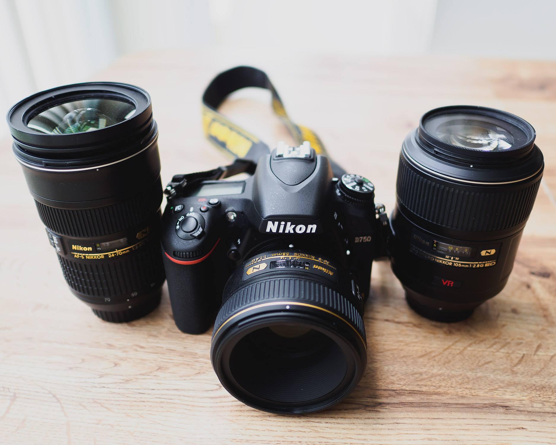 Nikon D750 + AF-S 58mm f/1.4G lens + 2 other lenses