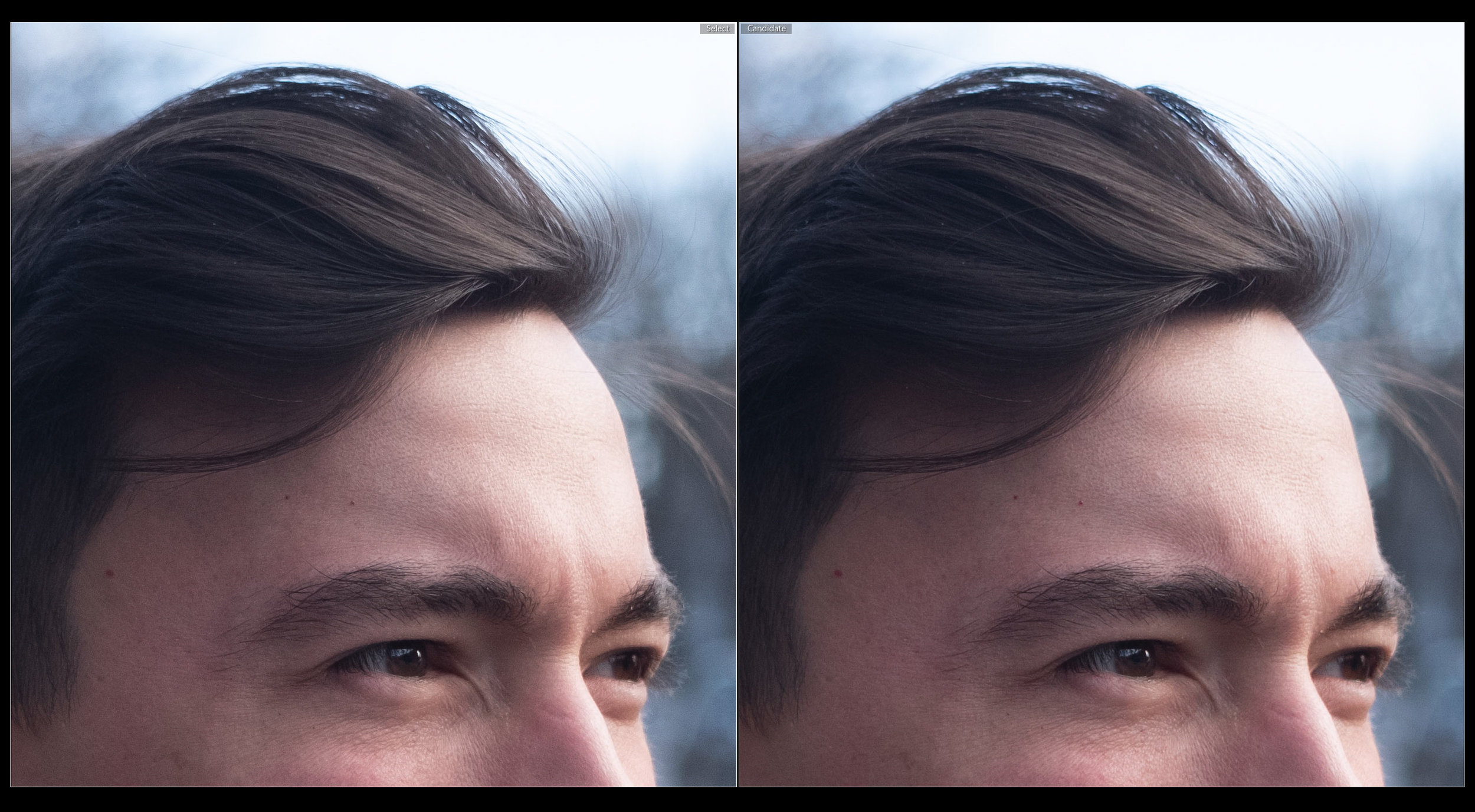 RAF left, DNG right compared in Lightroom CC latest version