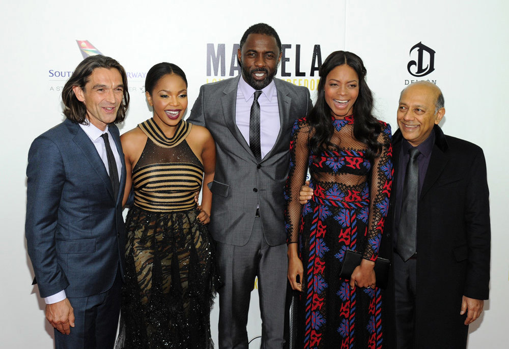 Director Justin Chadwick, Terry Pheto, Idris Elba, Naomie Harris and Anant Singh on the red carpet at the New York Premiere of Mandela: Long Walk To Freedom / Videovision Entertainment (p)