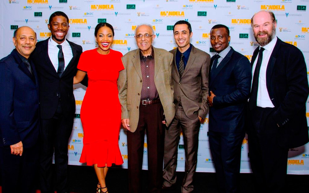 Seen at the Cape Town premiere were producer, Anant Singh, Atandwa Kani, Terry Pheto, Ahmed Kathrada, Riaad Moosa, Tony Kgoroge and Deon Lotz / Videovision Entertainment (p)