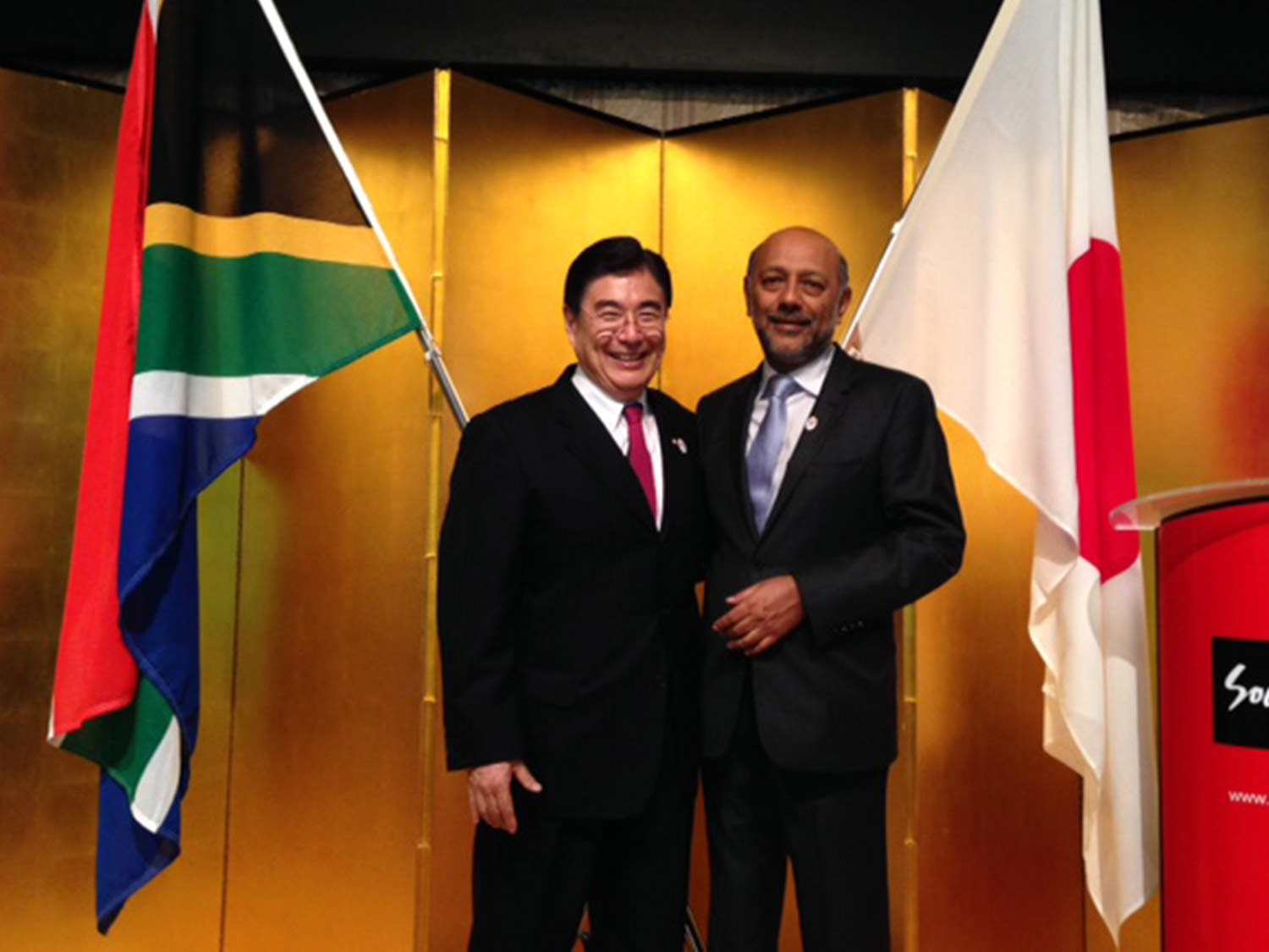 Anant Singh and Masato Mizuno (Former Chairman of the Mizuno Corporation and CEO of the Tokyo 2020 Olympic Bid Committee / Videovision Entertainment (p)