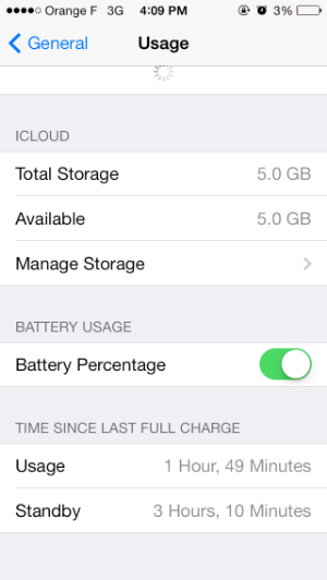iPhone 5 usage before battery replacement