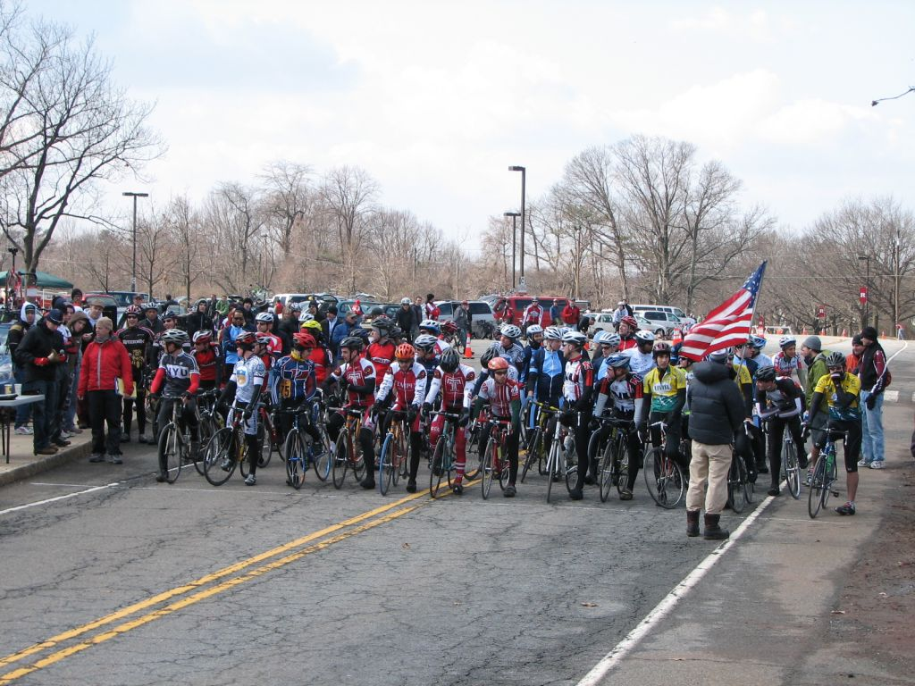 Greg (orange helmet, green sleeves) lined up for his very first criterium at Rutgers University, 2008.