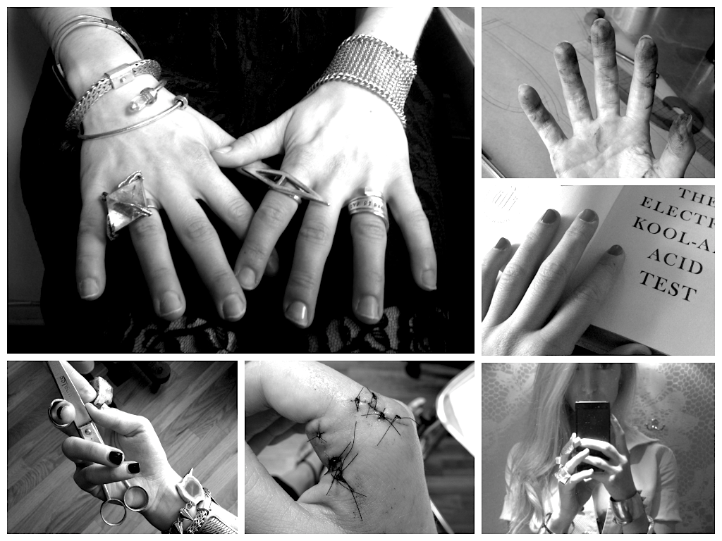Clockwise from top left: (1) regular Monday morning hands, (2) covered in ink smudges from pattern making, (3) paging through my favorite book, (4) in the dressing room working at Agent Provocateur with a death grip on my phone, (5) stitches from a nasty wine glass cut, (6) holding a pair of Rupalee fair-trade scissors gifted from a friend.