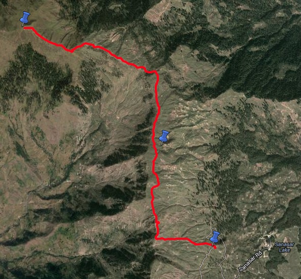 Route overview - Sanasar road head to Shankh Pal