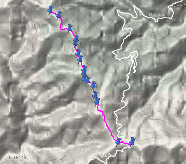 route overview - Chowari Jot to Dainkund ( view in google maps )