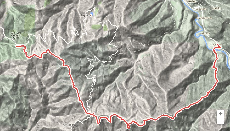 Route overview - Dalhousie to Chamba. View in  Google Maps
