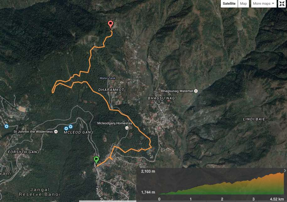 route overview - Mcleodganj bus stand to Galu Temple. View in  wikiloc  /  Google maps